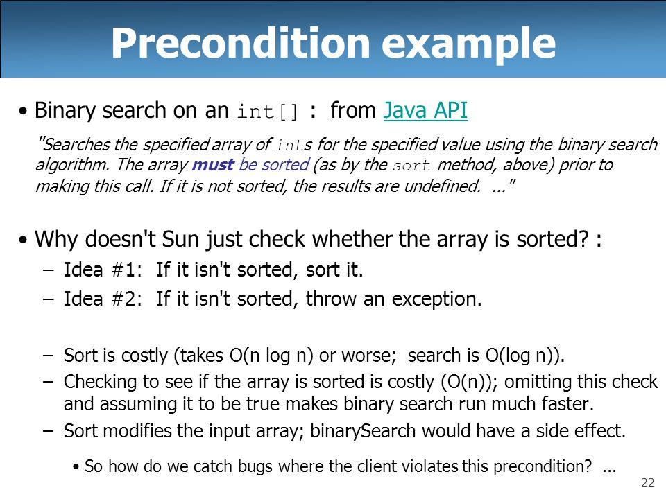 Precondition example