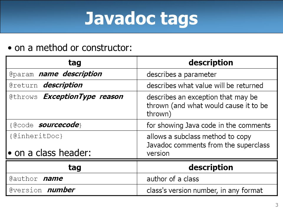 Javadoc tags on a method or constructor: on a class header: tag