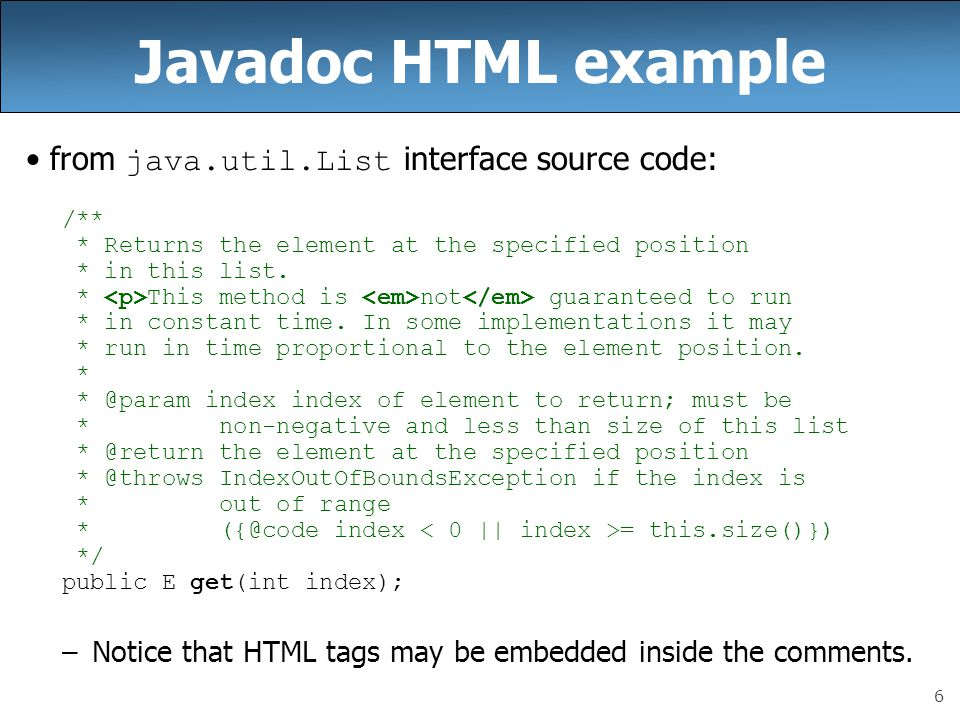 Javadoc HTML example from java.util.List interface source code: