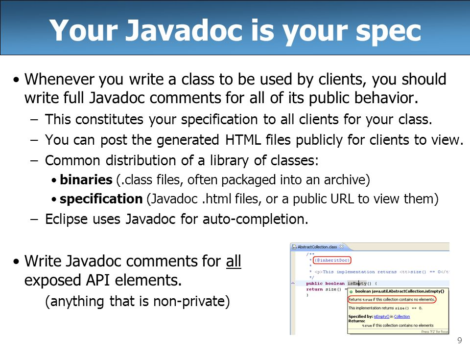 Your Javadoc is your spec