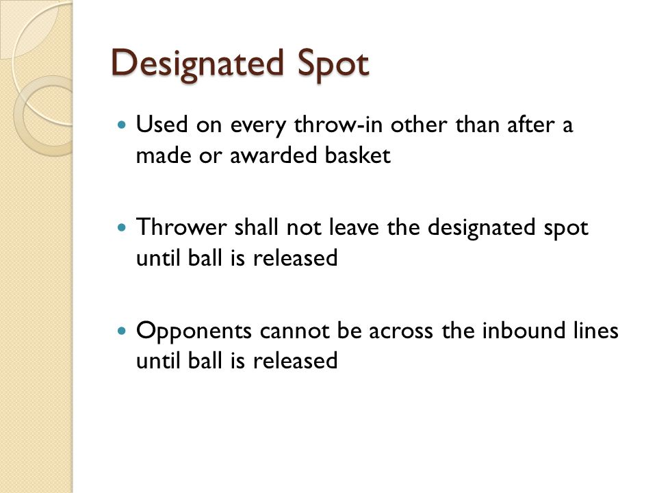 Designated Spot Used on every throw-in other than after a made or awarded basket.