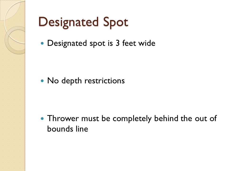 Designated Spot Designated spot is 3 feet wide No depth restrictions