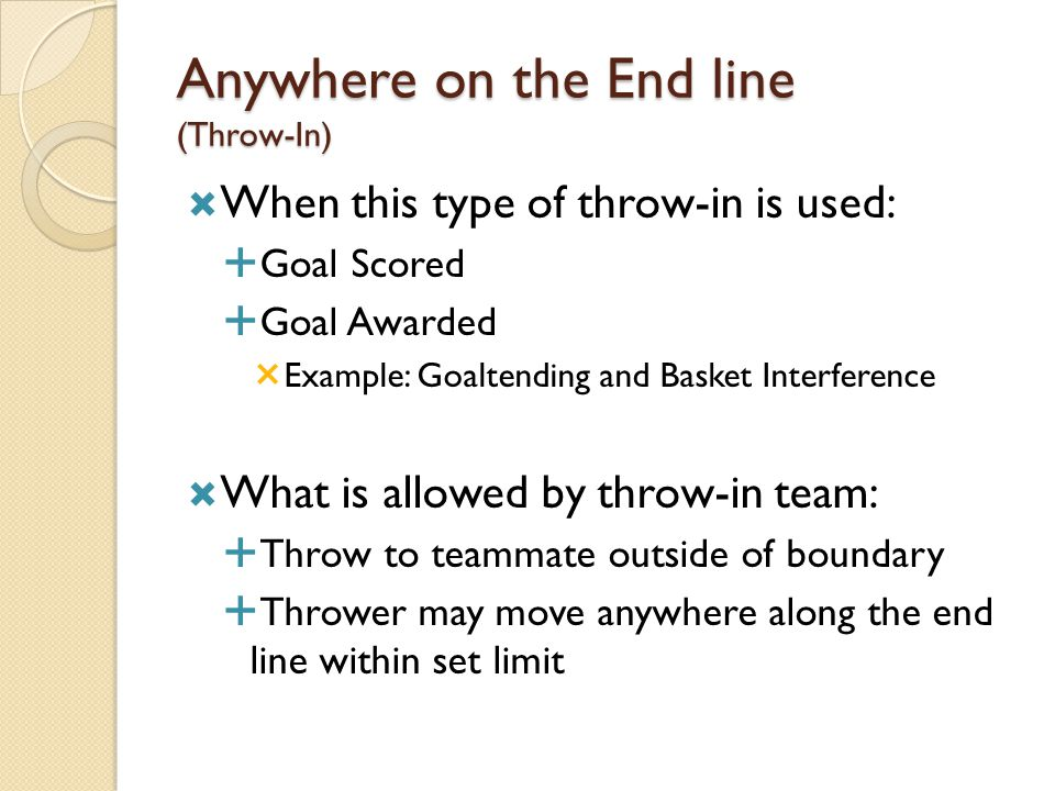 Anywhere on the End line (Throw-In)