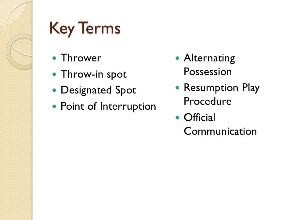Key Terms Thrower Throw-in spot Designated Spot Point of Interruption