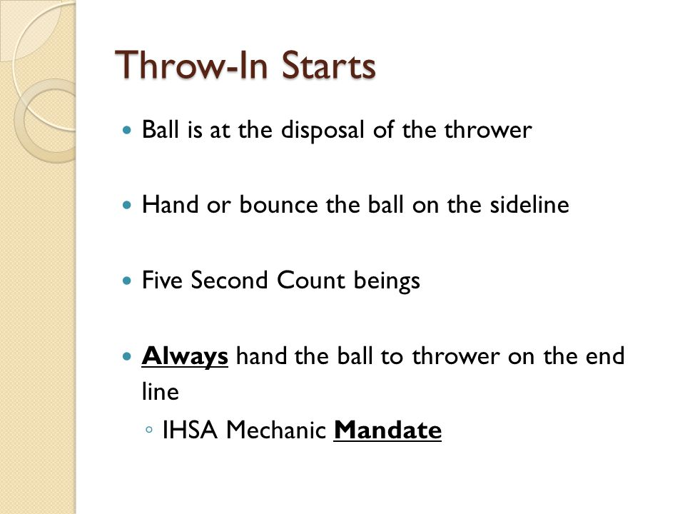 Throw-In Starts Ball is at the disposal of the thrower