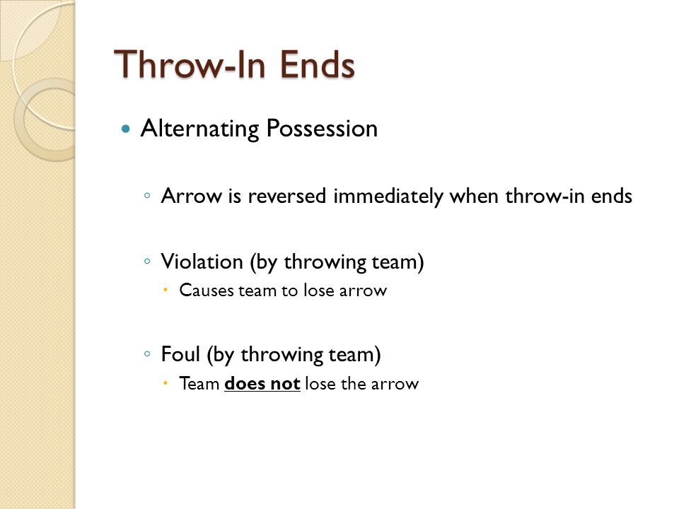 Throw-In Ends Alternating Possession