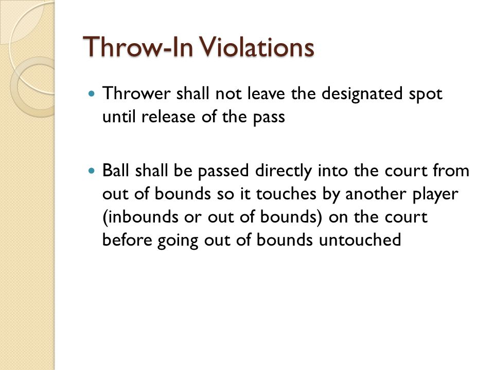 Throw-In Violations Thrower shall not leave the designated spot until release of the pass.