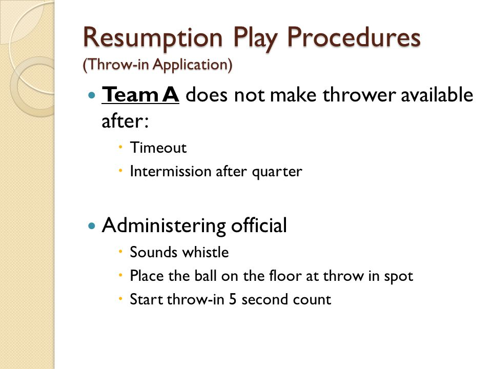 Resumption Play Procedures (Throw-in Application)