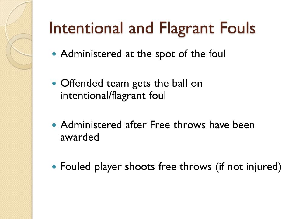 Intentional and Flagrant Fouls