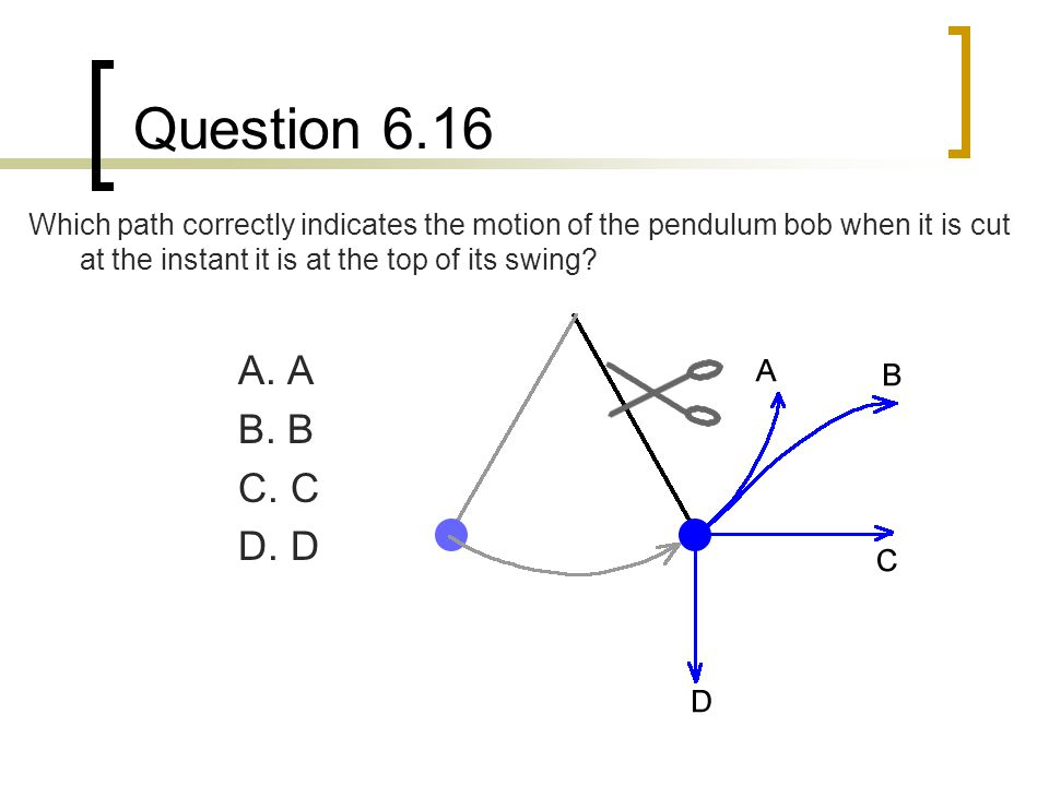 Question 6.16 Which path correctly indicates the motion of the pendulum bob when it is cut at the instant it is at the top of its swing