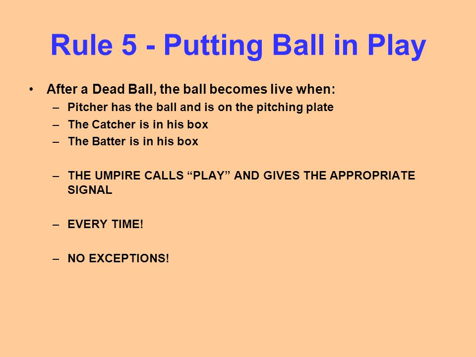 Rule 5 - Putting Ball in Play