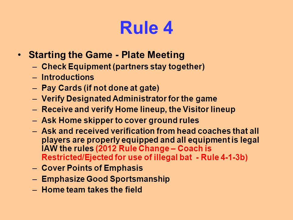 Rule 4 Starting the Game - Plate Meeting