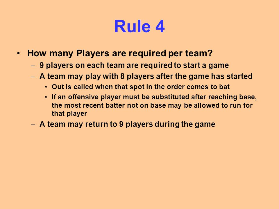Rule 4 How many Players are required per team