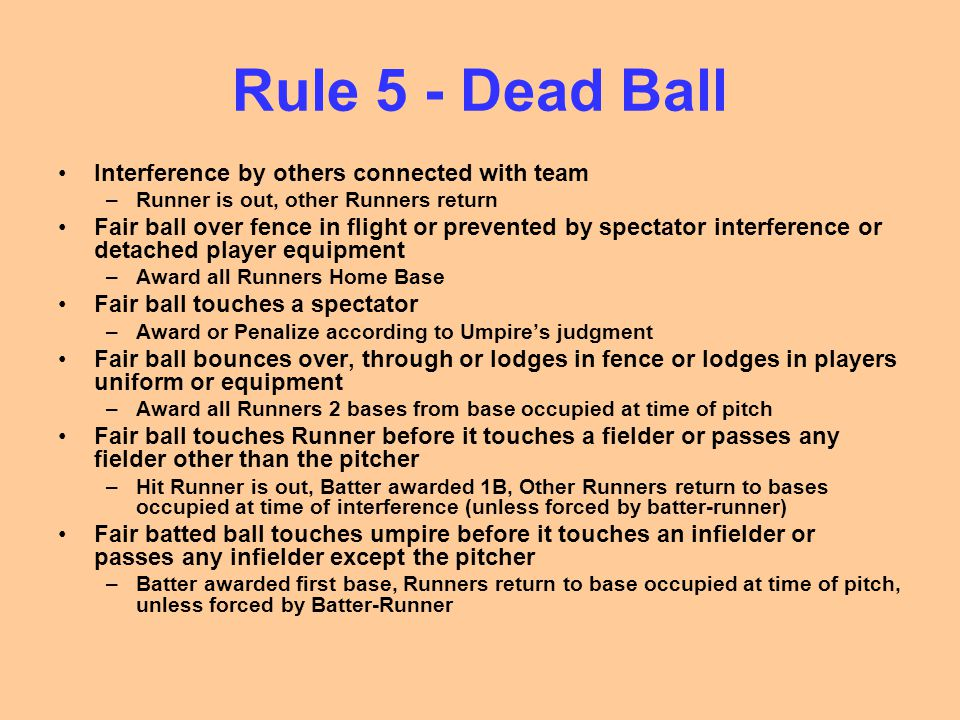 Rule 5 - Dead Ball Interference by others connected with team