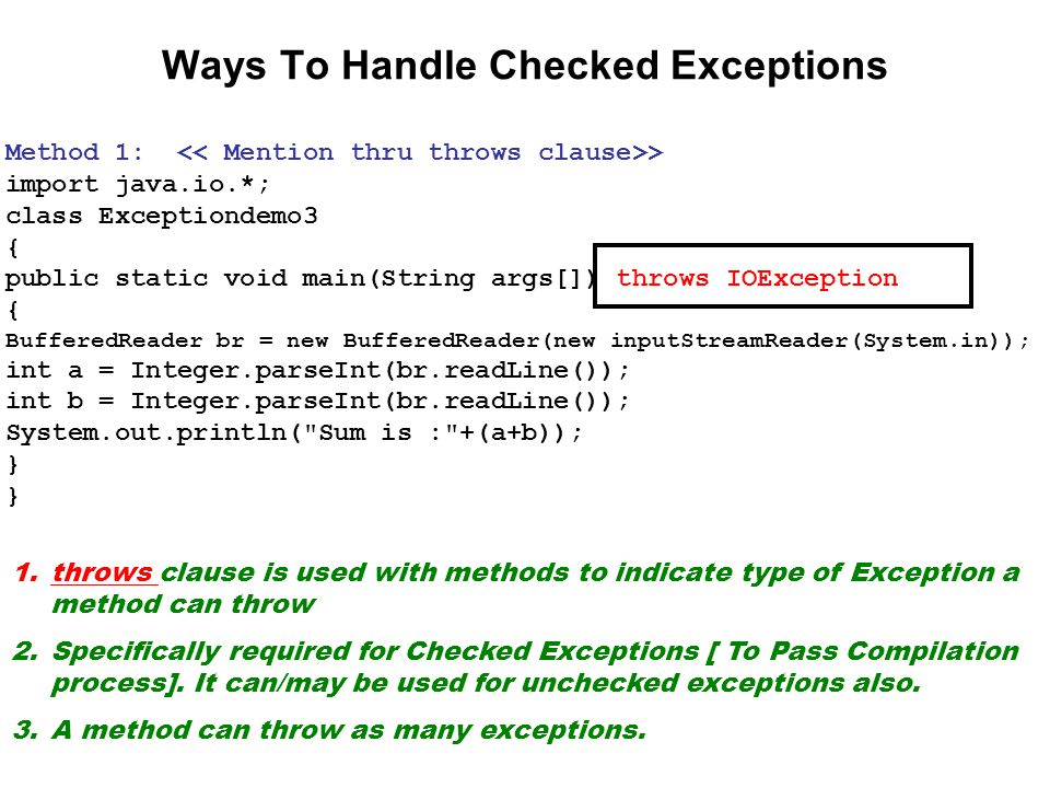 Ways To Handle Checked Exceptions