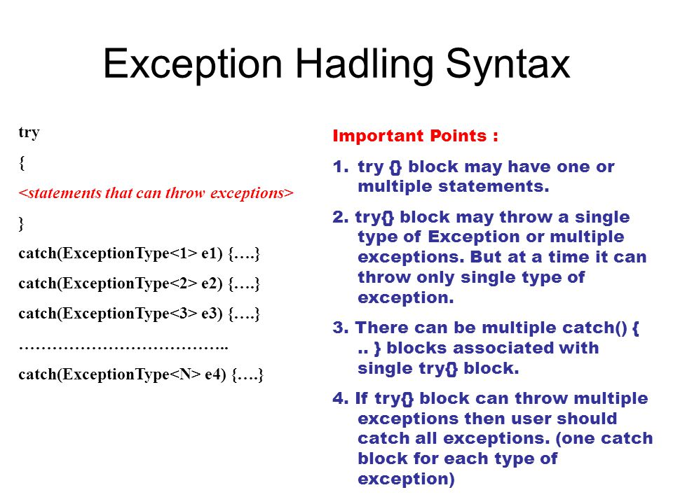 Exception Hadling Syntax
