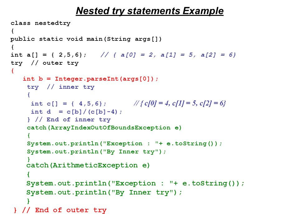 Nested try statements Example