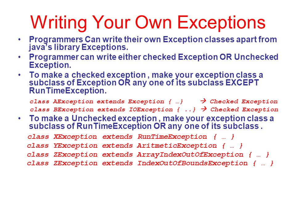 Writing Your Own Exceptions