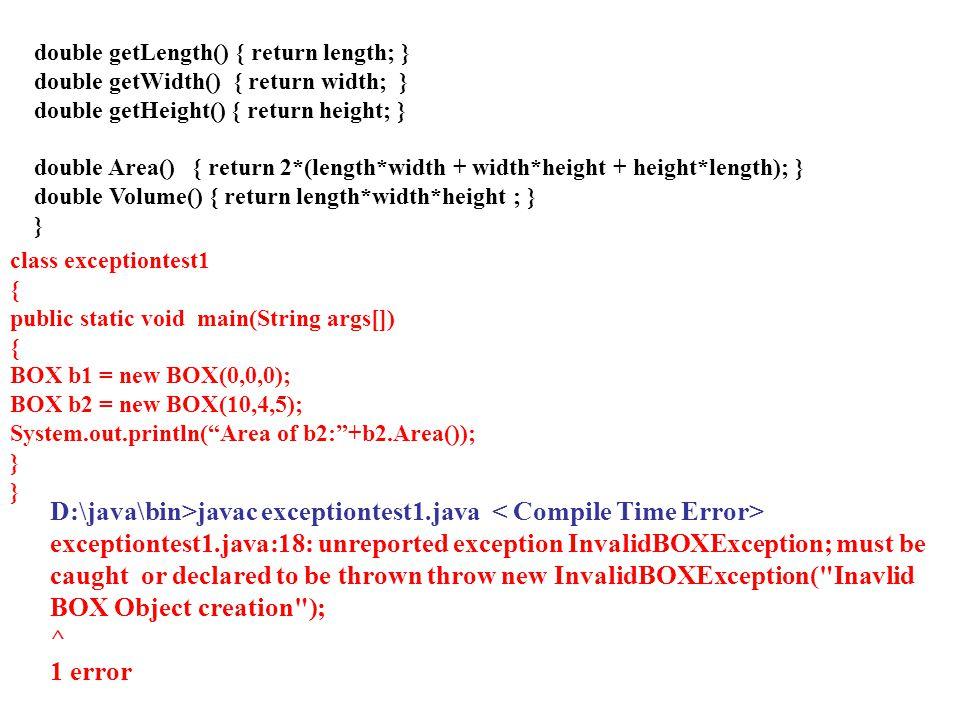 D:\java\bin>javac exceptiontest1.java < Compile Time Error>
