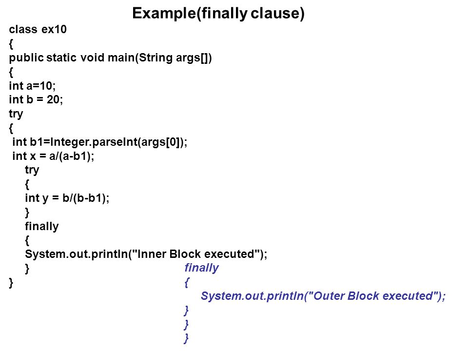 Example(finally clause)