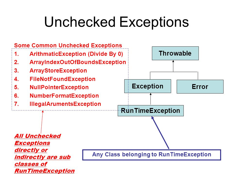 Any Class belonging to RunTimeException