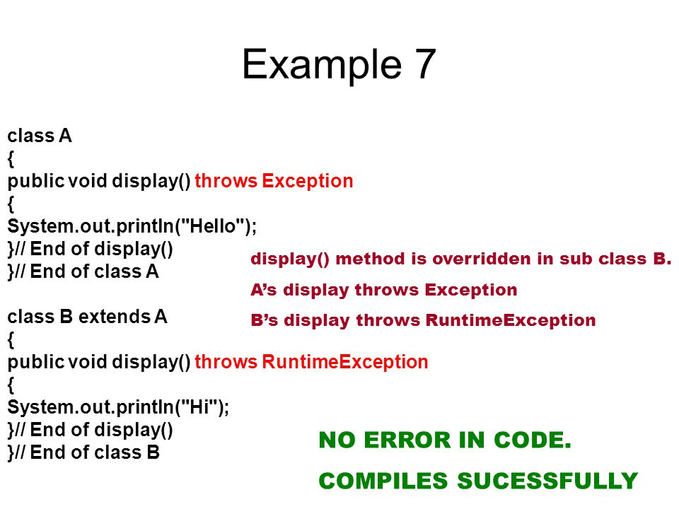 Example 7 NO ERROR IN CODE. COMPILES SUCESSFULLY class A {