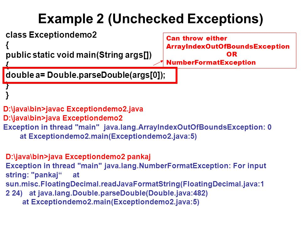 Example 2 (Unchecked Exceptions)