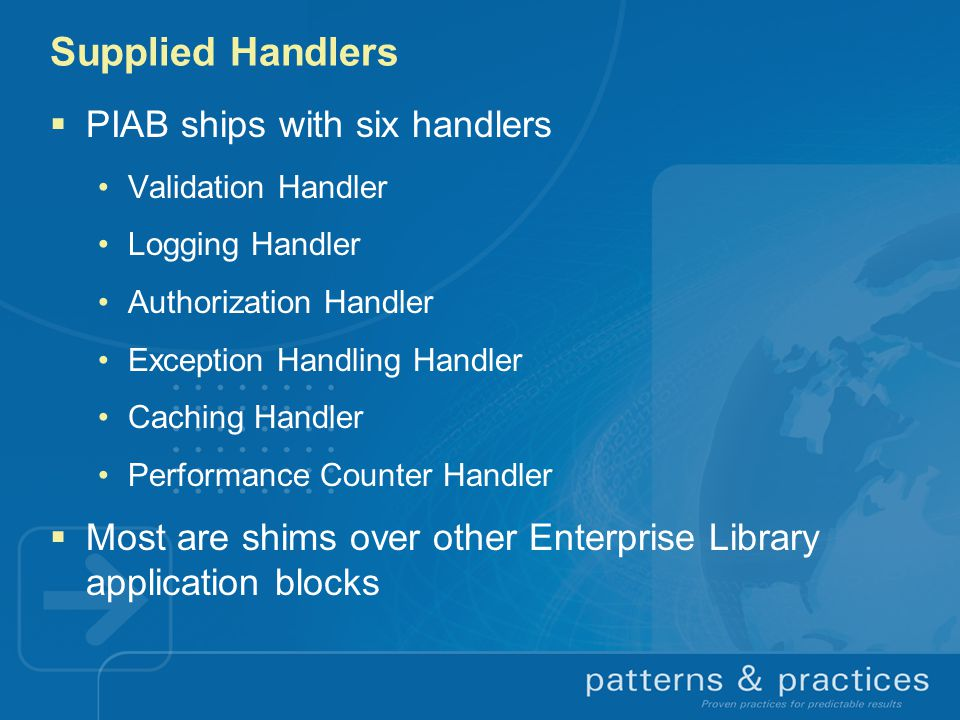 Supplied Handlers PIAB ships with six handlers