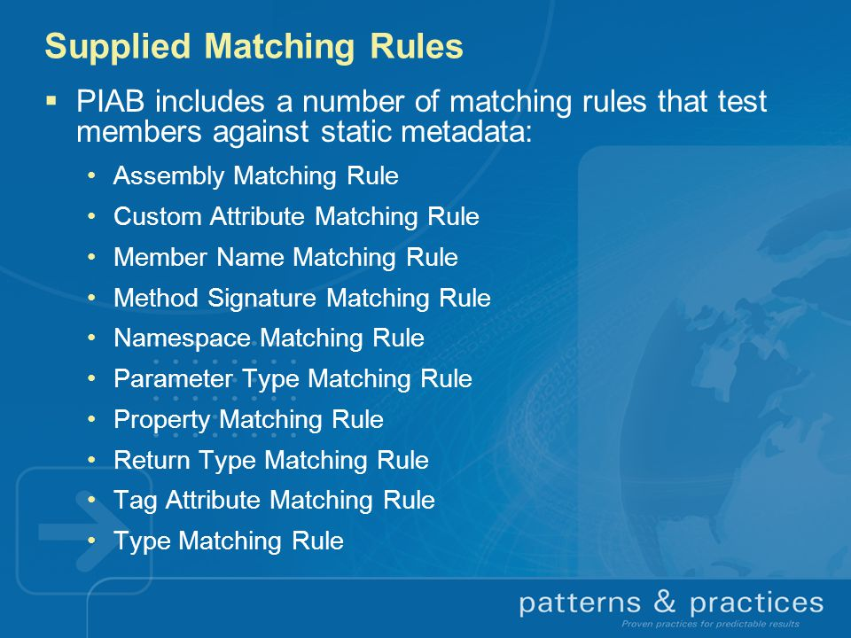 Supplied Matching Rules