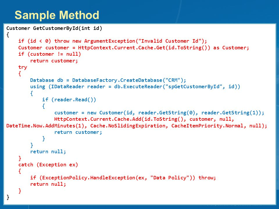 Sample Method Customer GetCustomerById(int id) {