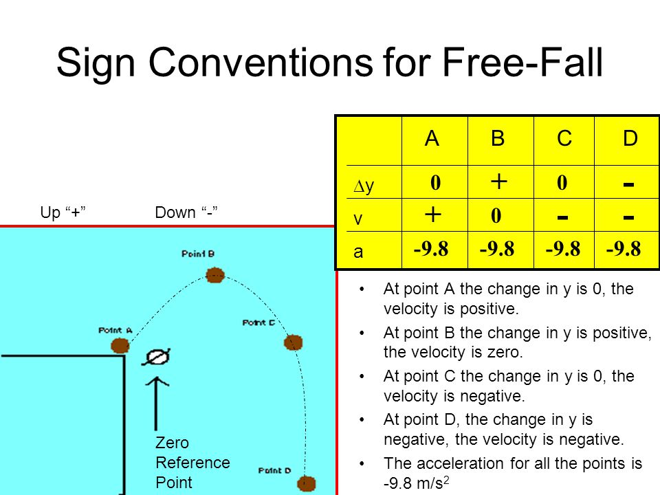 Sign Conventions for Free-Fall
