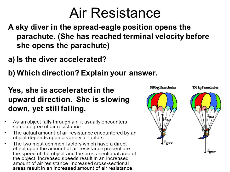 Air Resistance A sky diver in the spread-eagle position opens the parachute. (She has reached terminal velocity before she opens the parachute)