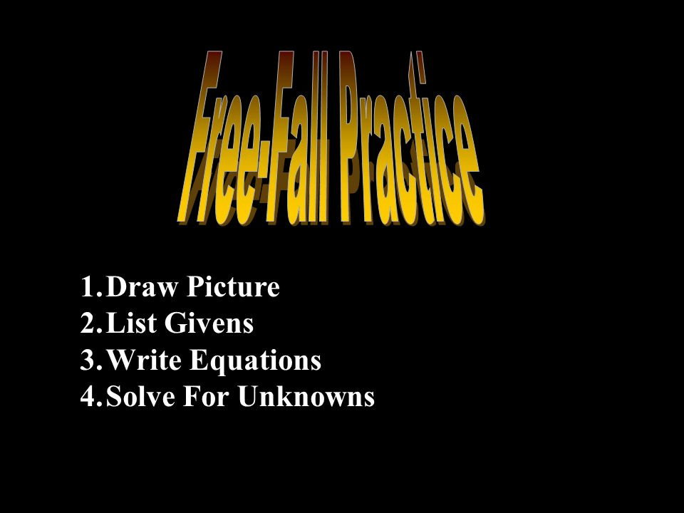 Free-Fall Practice Draw Picture List Givens Write Equations