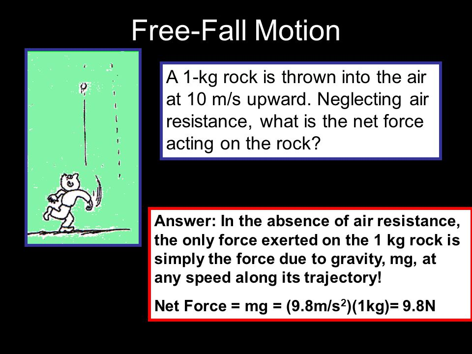Free-Fall Motion A 1-kg rock is thrown into the air at 10 m/s upward. Neglecting air resistance, what is the net force acting on the rock