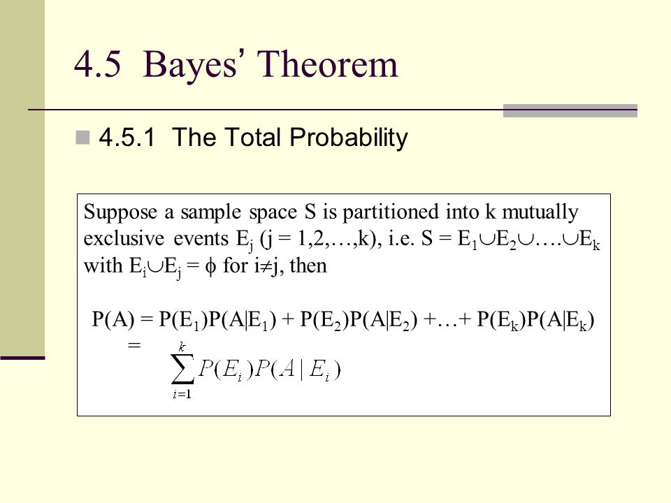 P(A) = P(E1)P(A|E1) + P(E2)P(A|E2) +…+ P(Ek)P(A|Ek)