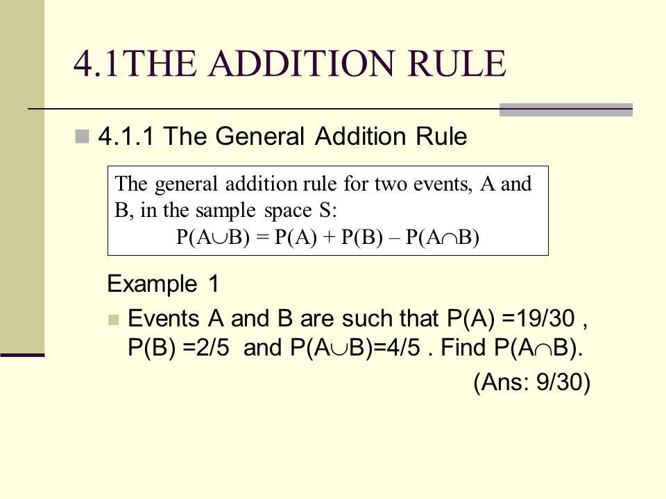 P(AB) = P(A) + P(B) – P(AB)