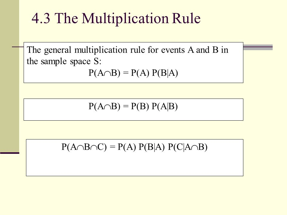 4.3 The Multiplication Rule