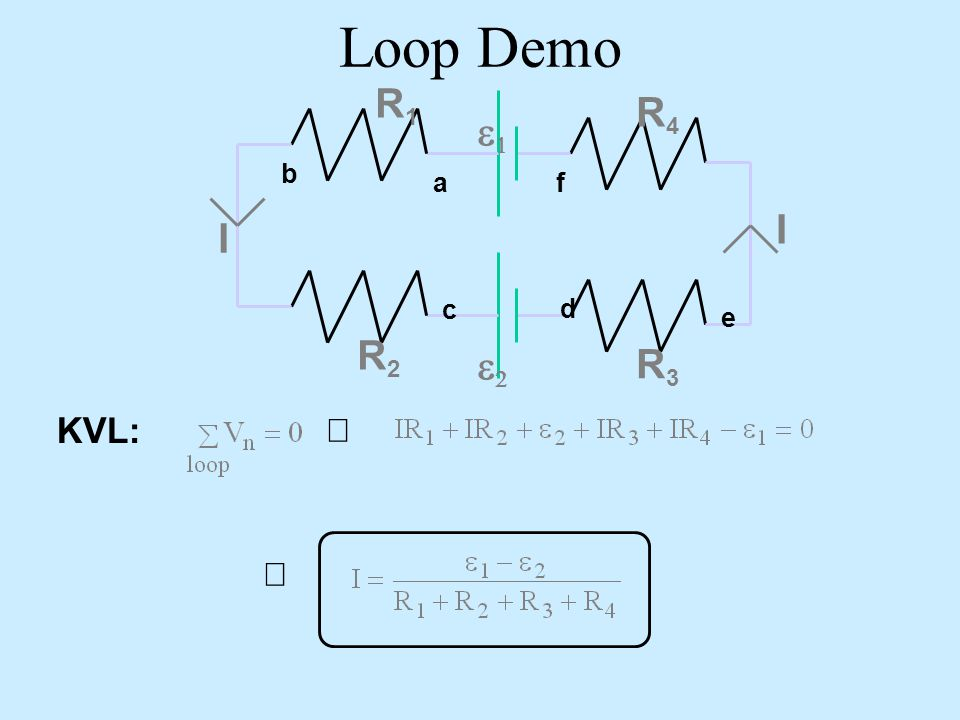 Loop Demo a d b e c f e1 R1 I R2 R3 R4 e2 KVL: Þ Þ