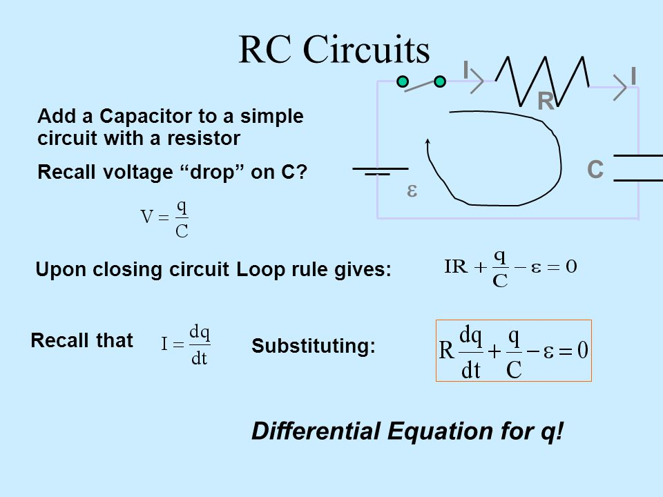 RC Circuits I R C e Differential Equation for q!