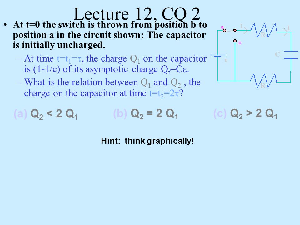 Lecture 12, CQ 2 (a) Q2 < 2 Q1 (b) Q2 = 2 Q1 (c) Q2 > 2 Q1