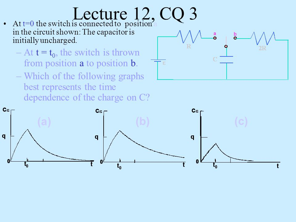 Lecture 12, CQ 3 At t=0 the switch is connected to position a in the circuit shown: The capacitor is initially uncharged.