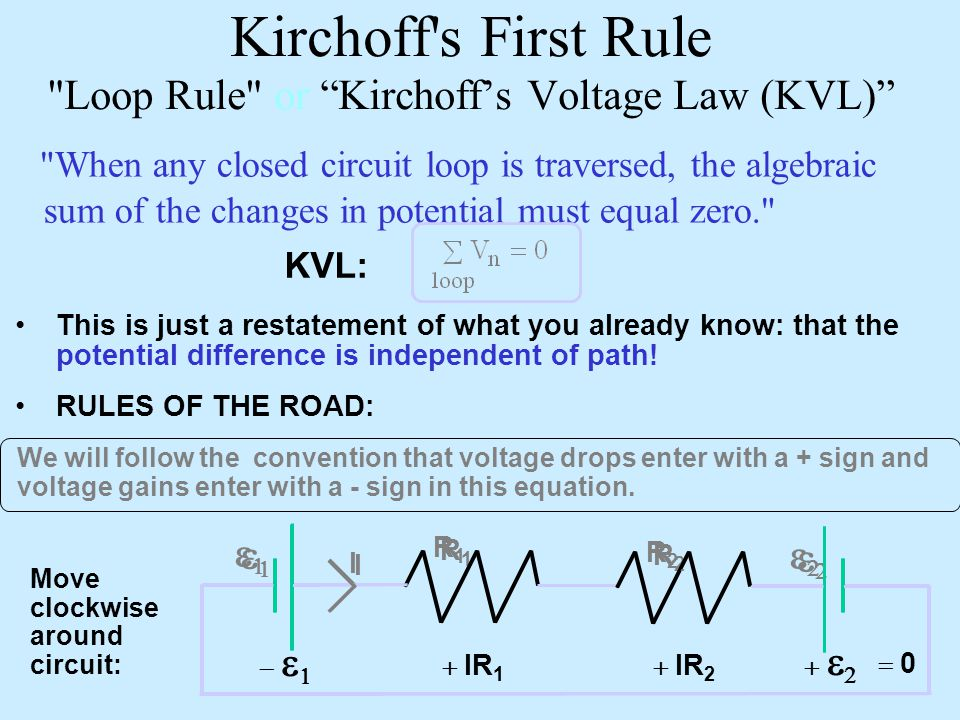 Kirchoff s First Rule Loop Rule or Kirchoff's Voltage Law (KVL)