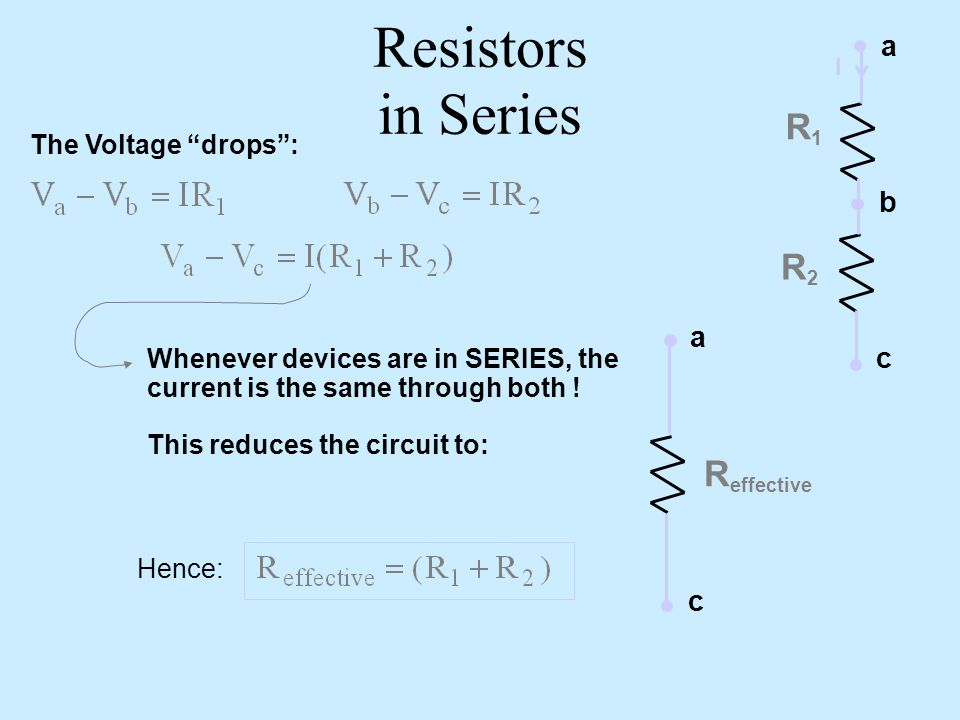 Resistors in Series R1 R2 Reffective a b a c c The Voltage drops :