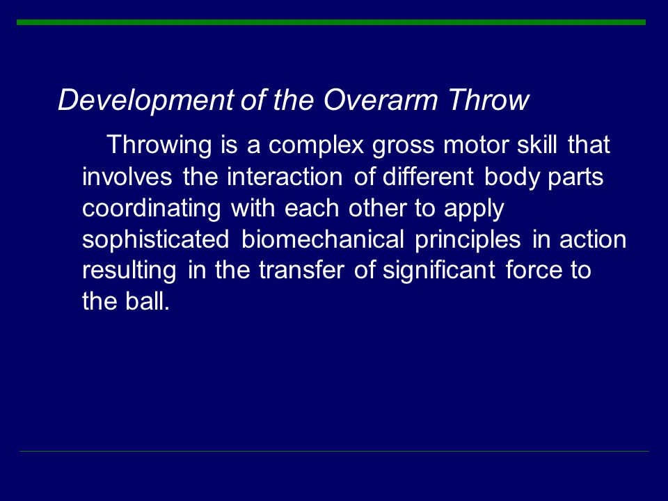 Development of the Overarm Throw