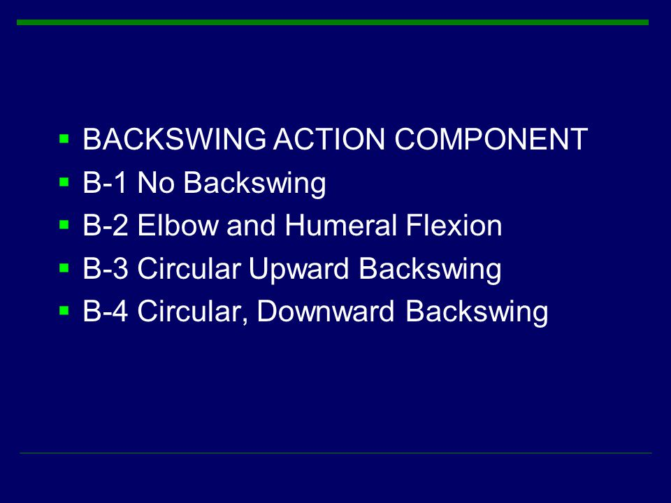 BACKSWING ACTION COMPONENT