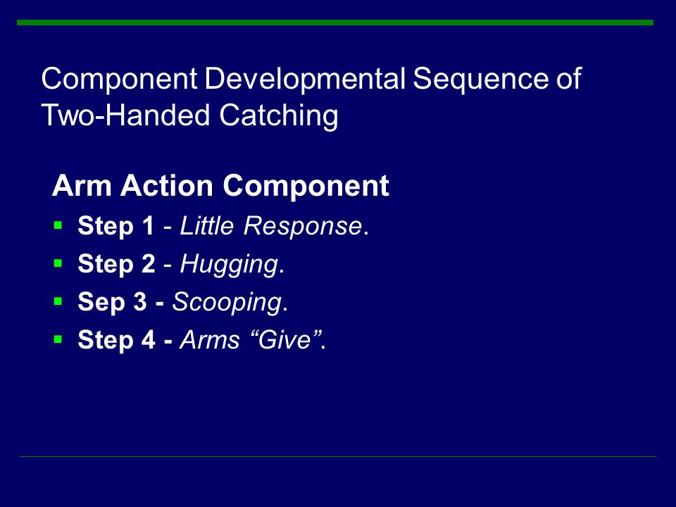 Component Developmental Sequence of Two-Handed Catching