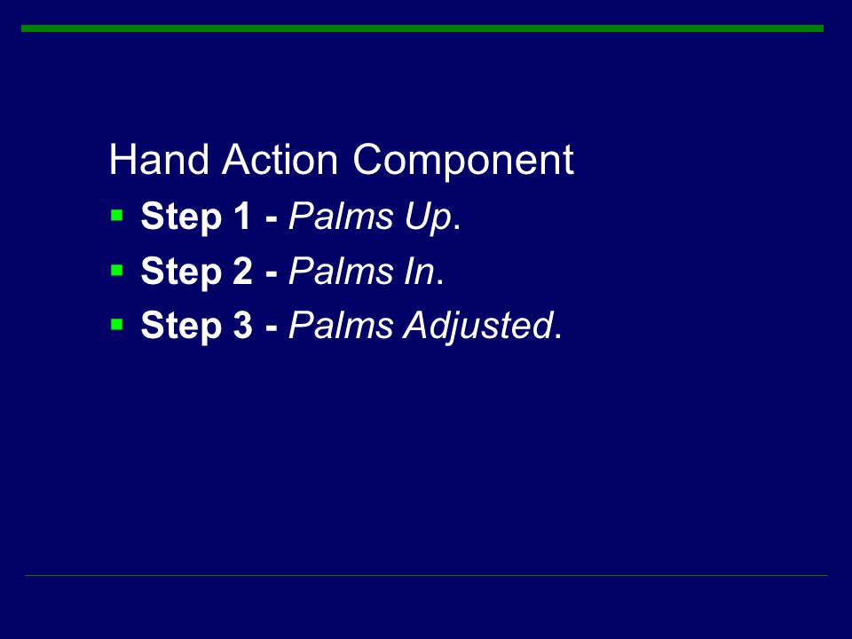 Hand Action Component Step 1 - Palms Up. Step 2 - Palms In.