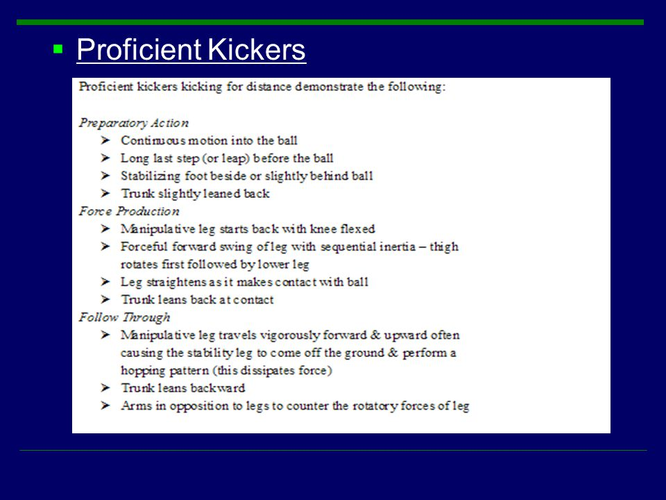 Proficient Kickers