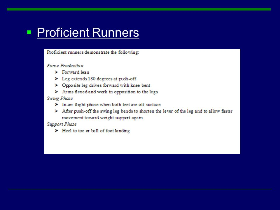 Proficient Runners