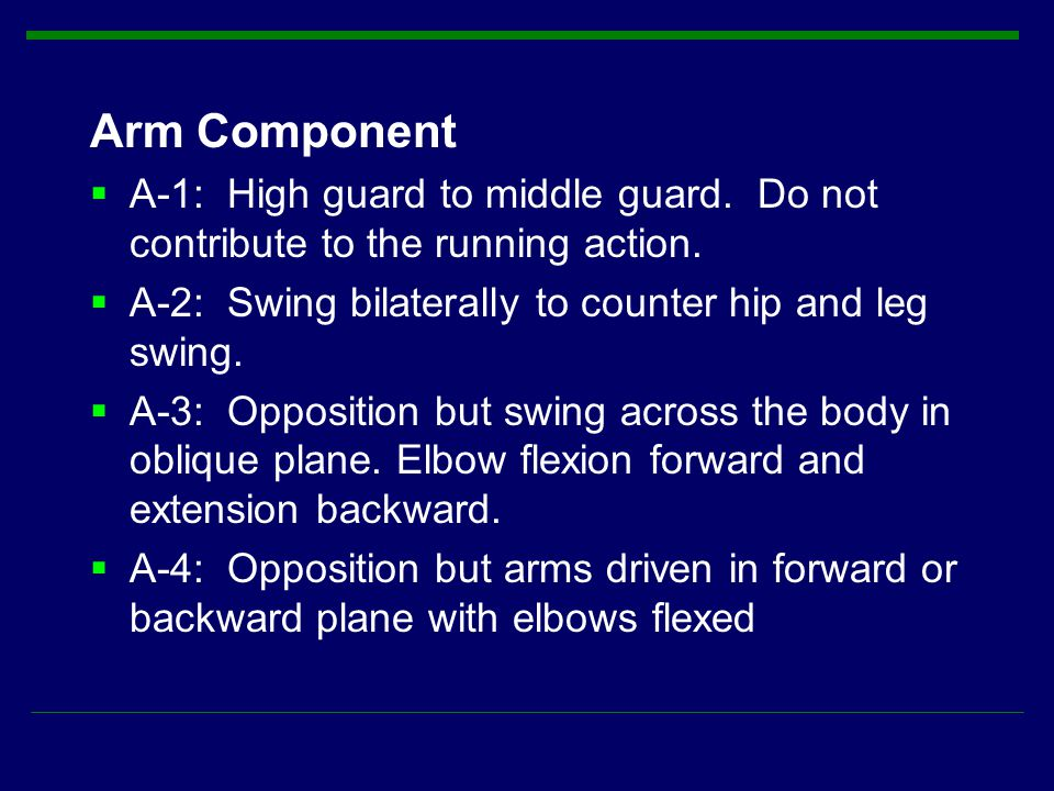 Arm Component A-1: High guard to middle guard. Do not contribute to the running action. A-2: Swing bilaterally to counter hip and leg swing.